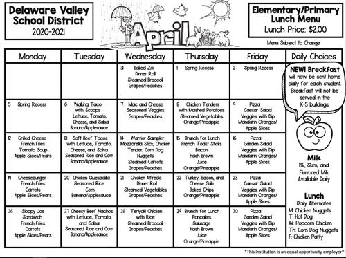 Elementary/Primary Lunch Menu